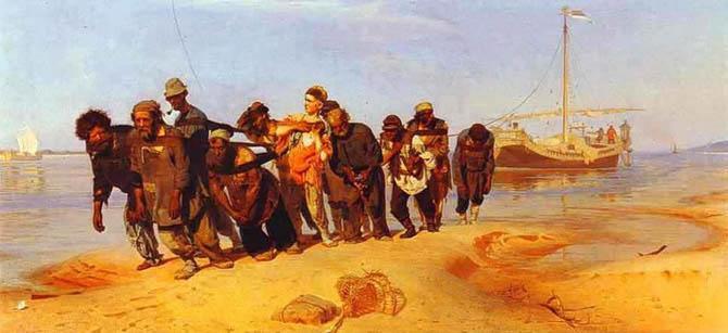Илья Репин. Бурлаки на Волге. 1870-1873. Холст, масло.