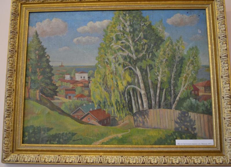 Вид на Сретенскую церковь. 1937 г. Худ.Моисеев В.Н. (из фондов юрьевецкого музея).