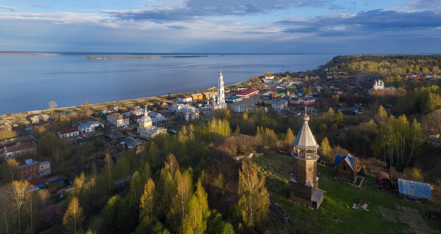 Вид на город Юрьевец с высоты птичьего полета